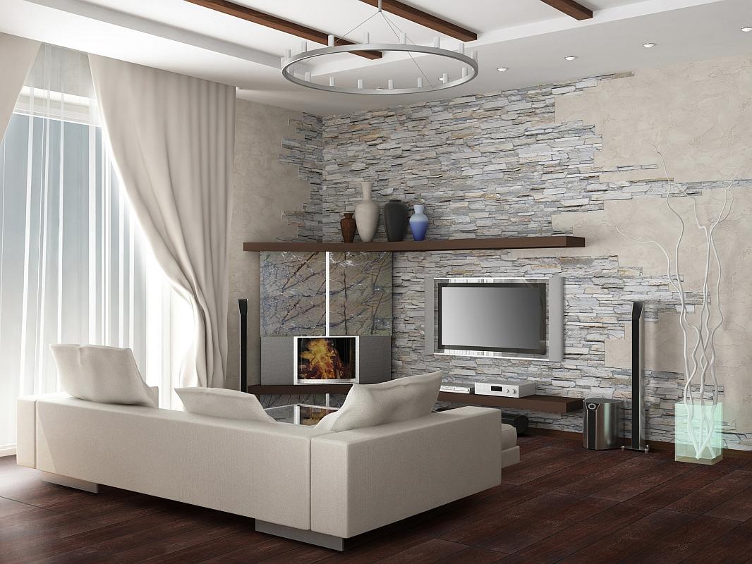 Декоративный камень в гостиной фото